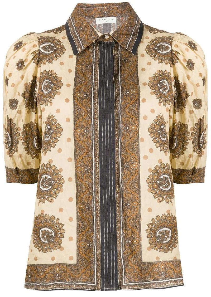 Sandro printed puff sleeve blouse