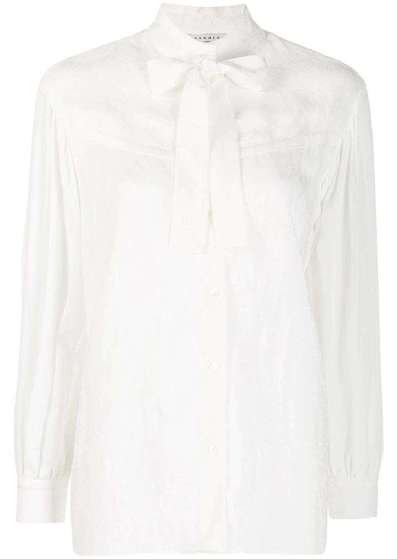 Sandro pussy bow long sleeve shirt