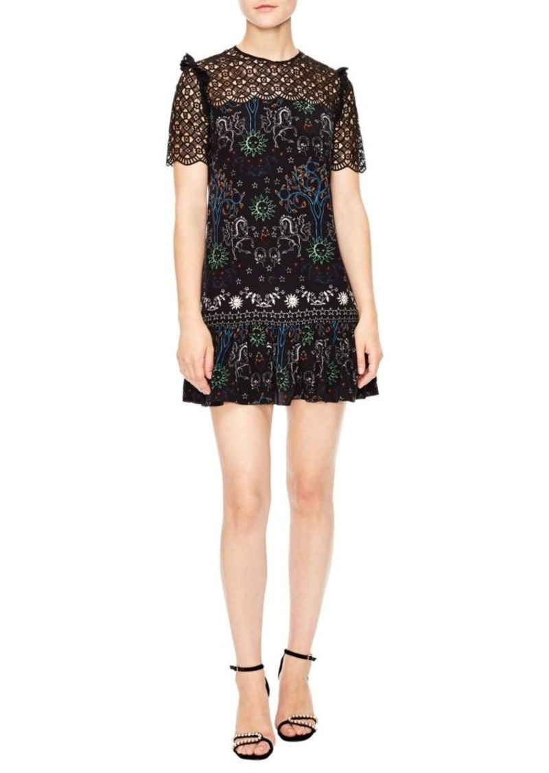 2a6613ff46 On Sale today! Sandro Royal Lions Gouet Embroidered Lace Mini Dress
