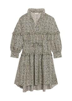 Sandro Salome-Print Ruffle Silk Mini A-Line Dress