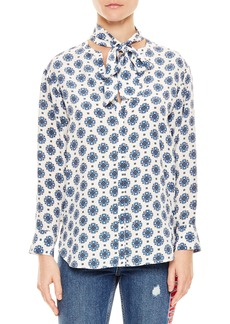 Sandro sando Blanc Mix Pattern Silk Blouse