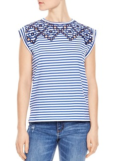 Sandro Alvea Striped Eyelet-Detail Top