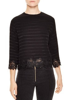 Sandro Anig Striped Lace-Detail Crop Top