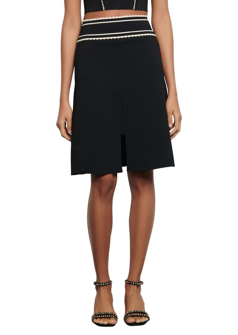 sandro Anna Contrast Detail A-Line Skirt