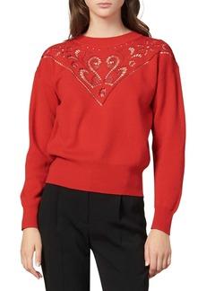 sandro Ardor Lace Yoke Wool Blend Sweater