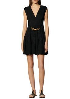 sandro Aurea Chain Accent Jacquard Fit & Flare Dress