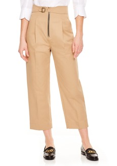 sandro Beige Wide Leg Crop Pants