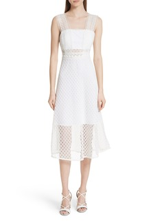 sandro Blanc Lace Square Neck Dress