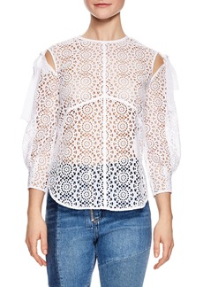 sandro Blanc Sheer Lace Top