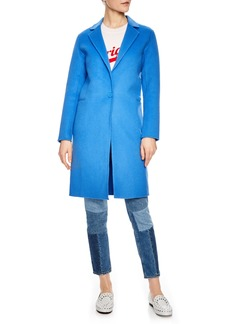 sandro Bleu Cerulean Wool Walking Coat