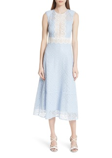 sandro Bleu Ciel Lace Midi Dress