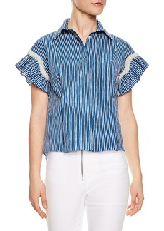 sandro Bleu Crulen Stretch Cotton Top