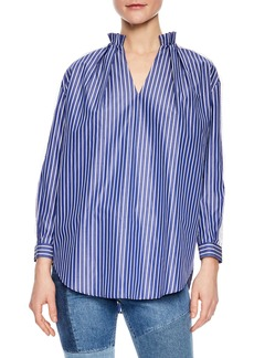 sandro Bleu Lace Stripe Cotton Blouse