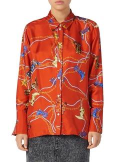 sandro Boots Western Print Silk Shirt