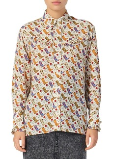 sandro Bootsee Western Boot & Floral Print Shirt