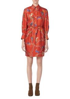 Sandro Bootsy Western Boot-Print Silk Dress