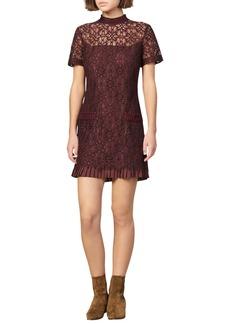 sandro Bordaux Lace Cocktail Dress