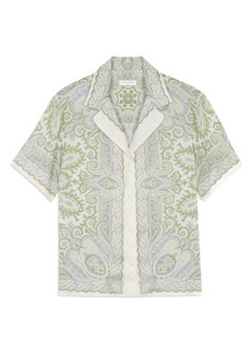 sandro Border Print Short Sleeve Button-Up Shirt