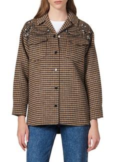 sandro Brodan Plaid Beaded Detail Wool Blend Jacket
