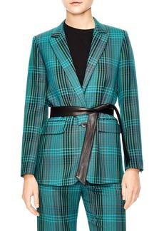 sandro Bruce Belted Plaid Suit Jacket