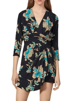 Sandro Bruni Floral Faux-Wrap Mini Dress