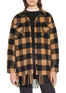 sandro Buffalo Plaid Fringe Hem Wool Blend Jacket
