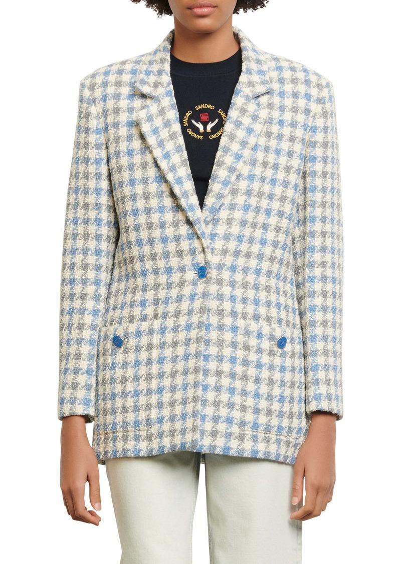 sandro Cailana Houndstooth Cotton Blend Blazer