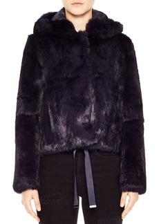 Sandro Call Me Hooded Fur Jacket