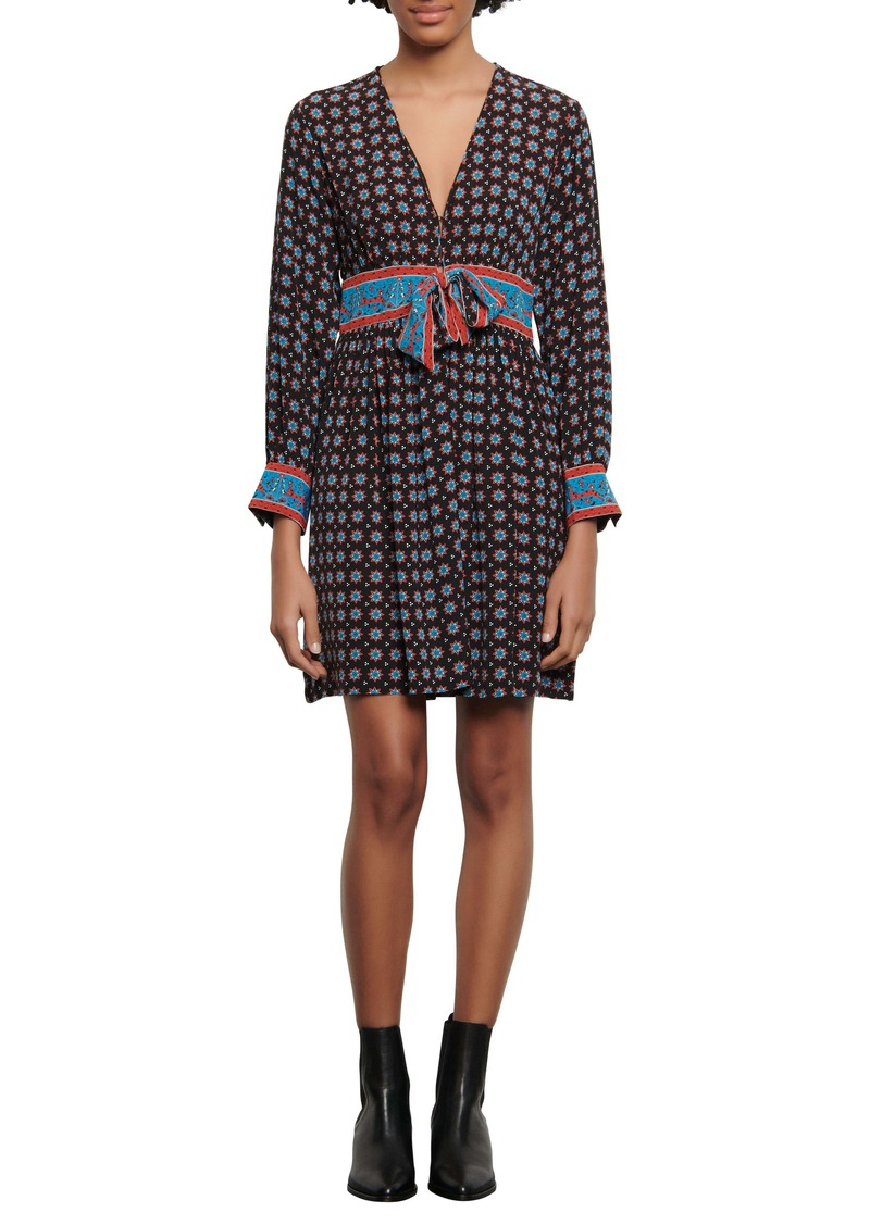 sandro Cate Mix Print Long Sleeve Dress