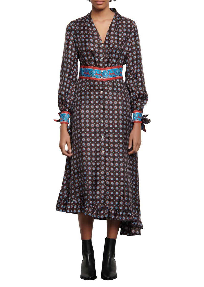 sandro Catlyn Mix Print Long Sleeve Silk Shirtdress