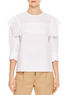 Sandro Charlette Lace-Trimmed Top
