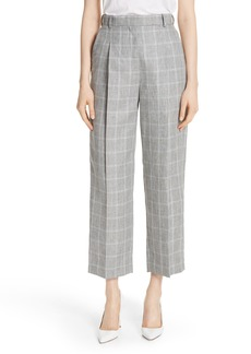 sandro Check Wide Leg Crop Pants