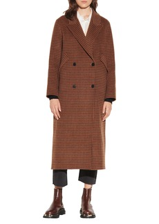 sandro Check Wool Blend Coat