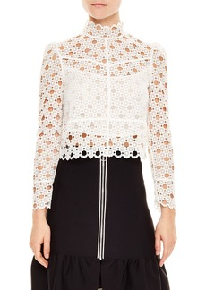 sandro Crop Lace Blouse