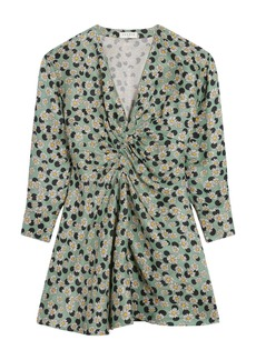 sandro Daisy Dot Long Sleeve Linen Blend Dress