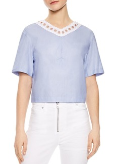 Sandro Darilyn Lace-Trimmed Tie-Back Cropped Top