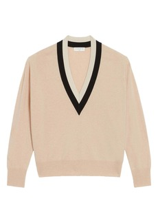 sandro Deep V-Neck Wool & Cashmere Blend Sweater