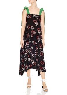 Sandro Delicat Heart-Motif Midi Dress