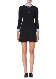 sandro Delna Poplin Trim Long Sleeve Knit Minidress
