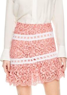Sandro Devon Tiered Lace Mini Skirt