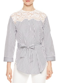 Sandro Dorothee Belted Striped Lace-Inset Top