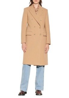 sandro Double Breasted Virgin Wool Blend Coat