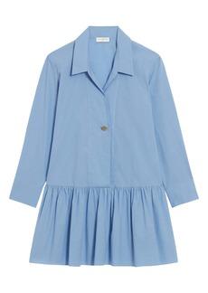 sandro Drop Waist Long Sleeve Cotton Chambray Dress
