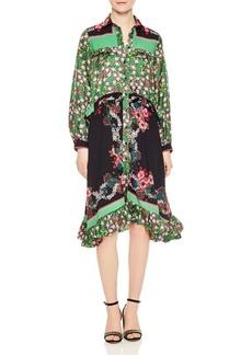 Sandro Duel Floral Print & Color Blocked Dress