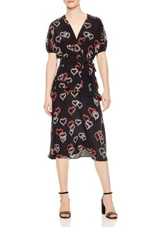 Sandro Eclat Ruffled Floral-Print Silk Midi Dress