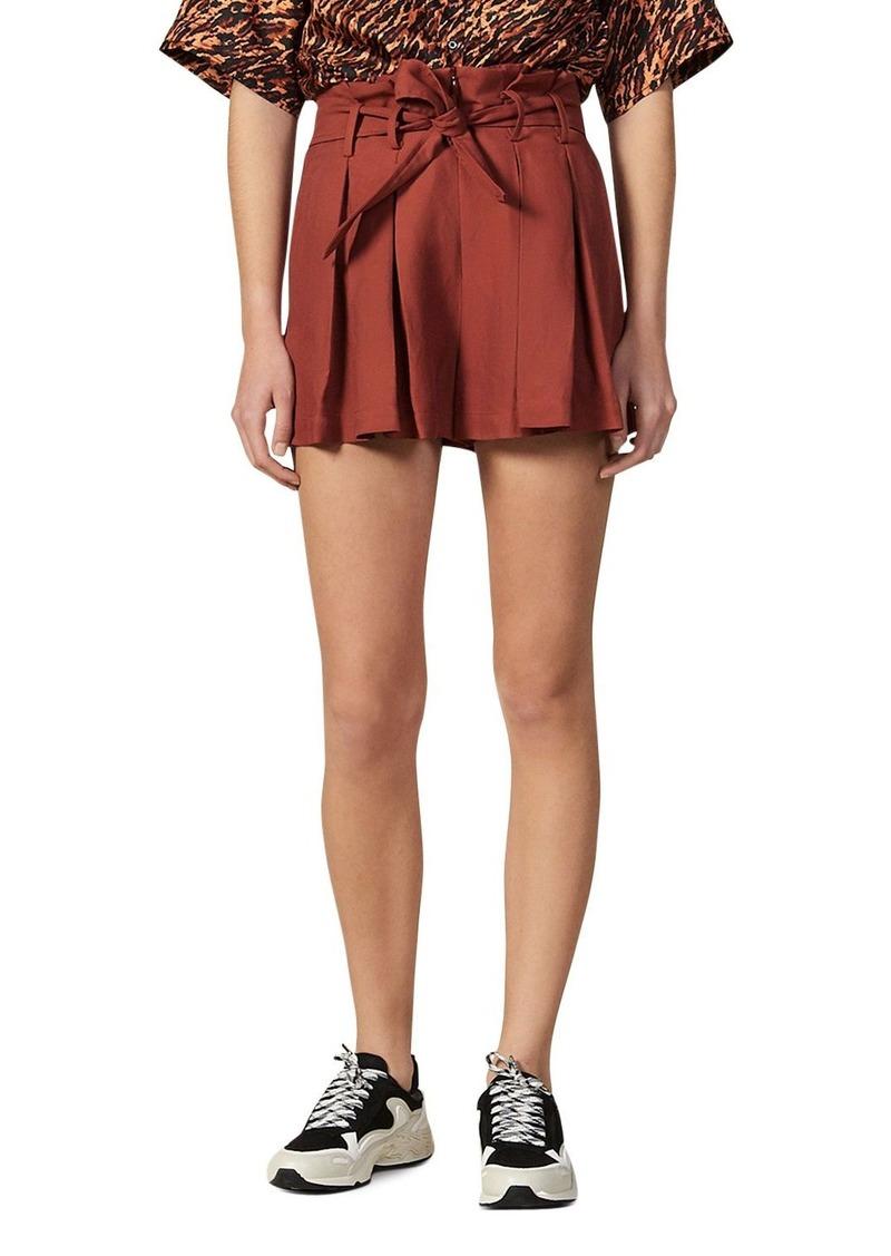 Sandro Eddi Pleated Paperbag-Waist Mini Shorts