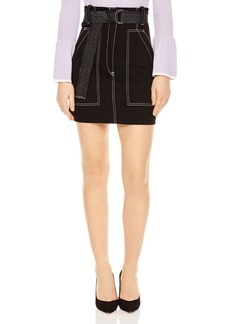 Sandro Elen Contrast-Stitched A-Line Mini Skirt