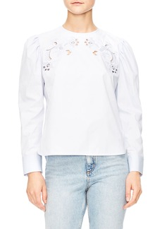 sandro Embroidered Cutout Blouse