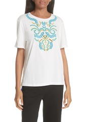 sandro Embroidery Cotton Blend Tee