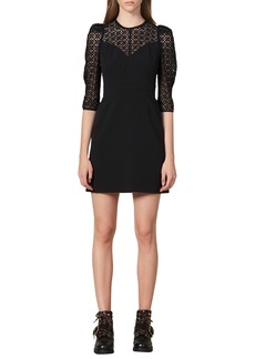 sandro Emila Lace Detail Puff Sleeve Minidress